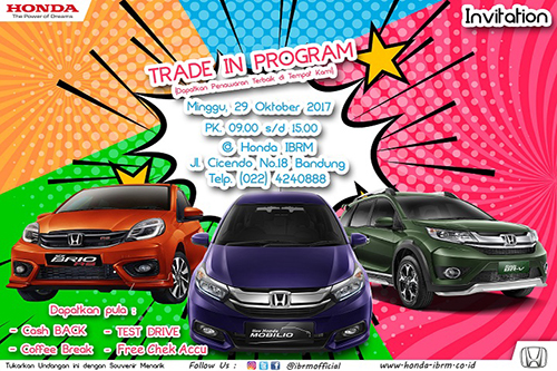 Showroom Event Honda IBRM | Minggu,29 Oktober 2017